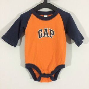 Gap Baby 12-18M Orange & Blue Embroidered Bodysuit